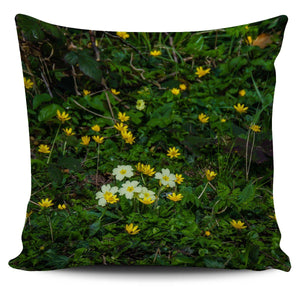 Pillow Cover - Irish Spring Primroses and Lesser Celandine Pillow Cover Moods of Ireland