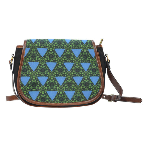 Saddle Bag - Turquoise Triangles on Irish Green Saddle Bag Moods of Ireland