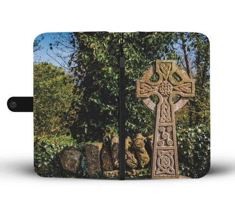 Image of Celtic Cross Wallet Phone Case Open