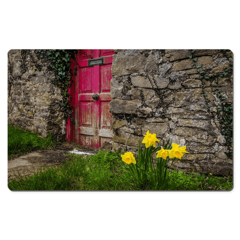 Image of Desk Mat - Daffodils Outside Irish Cottage, County Clare - James A. Truett - Moods of Ireland - Irish Art
