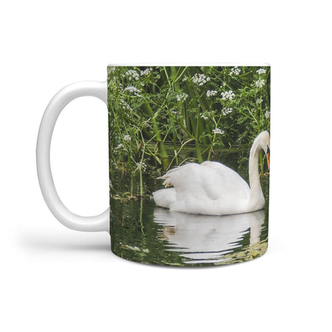 Ceramic Mug - Swan and Cygnets at Doneraile Park, County Cork 360 White Mug wc-fulfillment