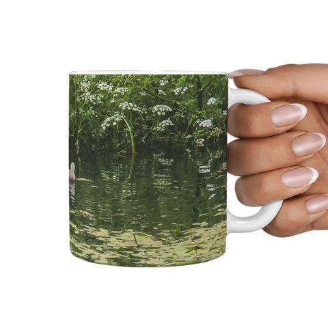 Image of Ceramic Mug - Swan and Cygnets at Doneraile Park, County Cork 360 White Mug wc-fulfillment