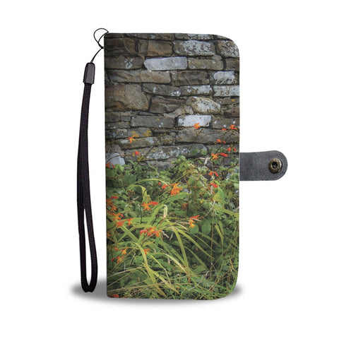 Image of Orange Montbretia Flowers Against a County Clare Stone Wall, Wallet Phone Case Wallet Case wc-fulfillment