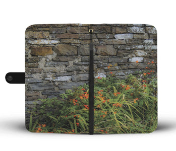 Orange Montbretia Flowers Against a County Clare Stone Wall, Wallet Phone Case Wallet Case wc-fulfillment