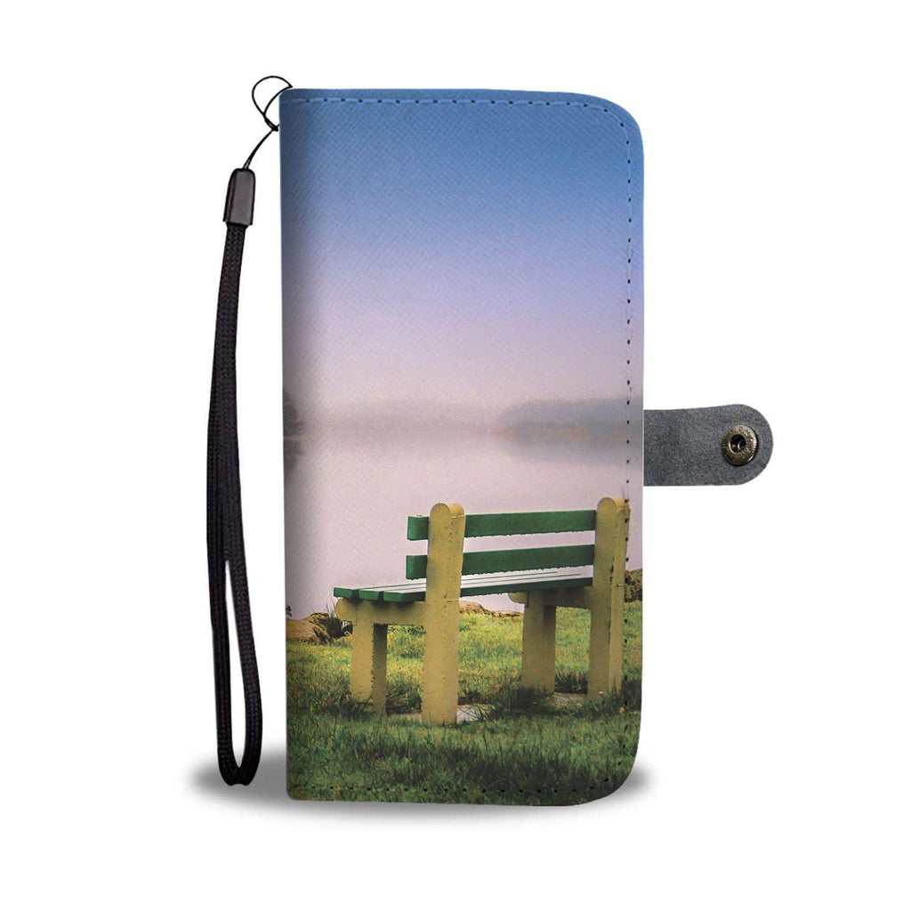 Bench at Lake Knockalough, County Clare, Wallet Phone Case Wallet Case wc-fulfillment