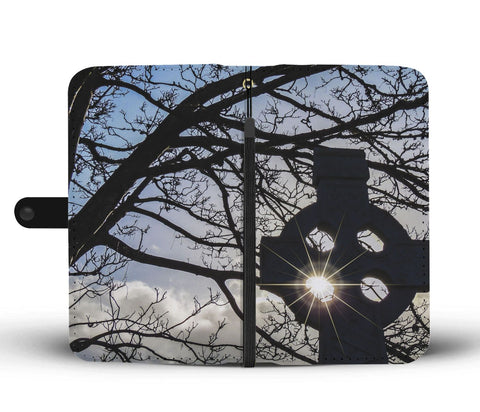 Sun through Celtic Cross Wallet Phone Case Wallet Case wc-fulfillment