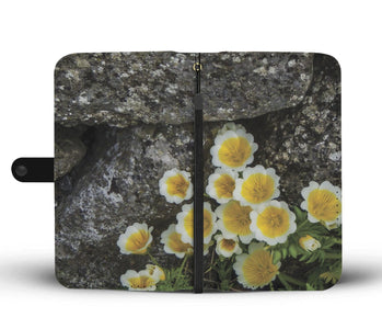 Meadow Foam Flowers Against Stone Wall, County Clare, Wallet Phone Case Wallet Case wc-fulfillment