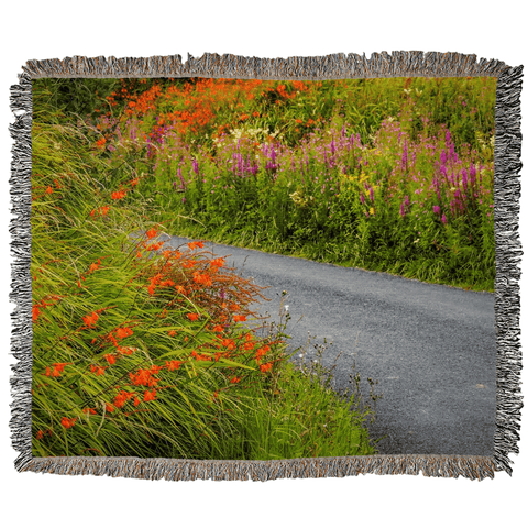 Irish Wild Flowers on a Country Road Woven Blanket Woven Blanket Moods of Ireland 50x60 inch