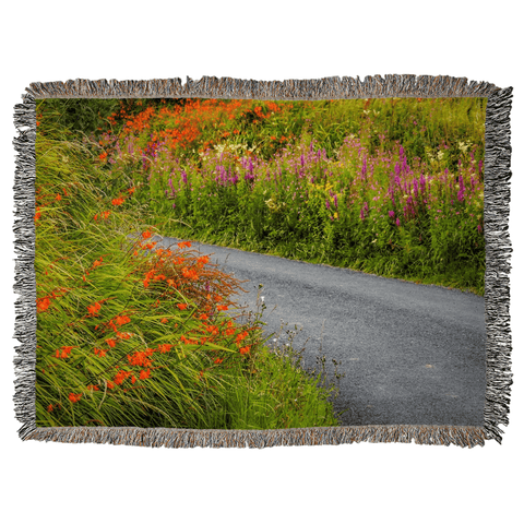 Irish Wild Flowers on a Country Road Woven Blanket