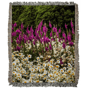 Faerie Thimbles and Daisys in the Irish Countryside Woven Blanket