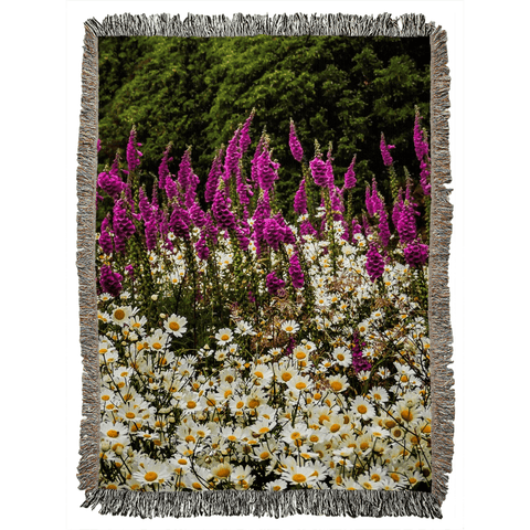 Faerie Thimbles and Daisys in the Irish Countryside Woven Blanket Woven Blanket Moods of Ireland 60x80 inch
