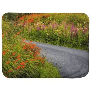 Sherpa Blanket (Infant Size) - Irish Wild Flowers on a Country Road