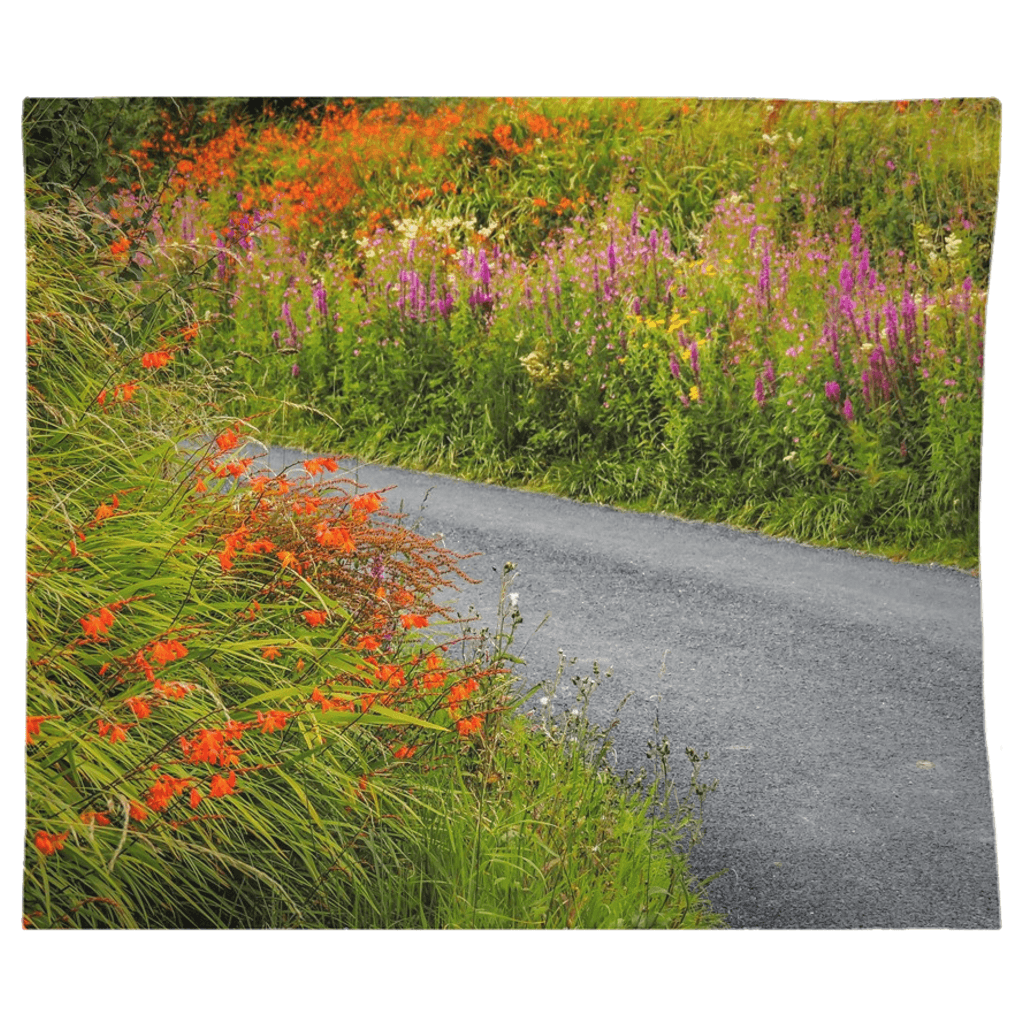 Tapestry - Irish Wild Flowers on a Country Road Tapestry Moods of Ireland 68x80 Inch Indoor Microfiber without Grommets