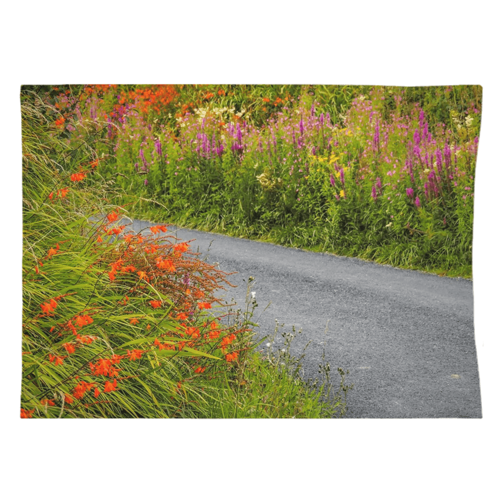 Tapestry - Irish Wild Flowers on a Country Road Tapestry Moods of Ireland 26x36 Inch Indoor Microfiber without Grommets