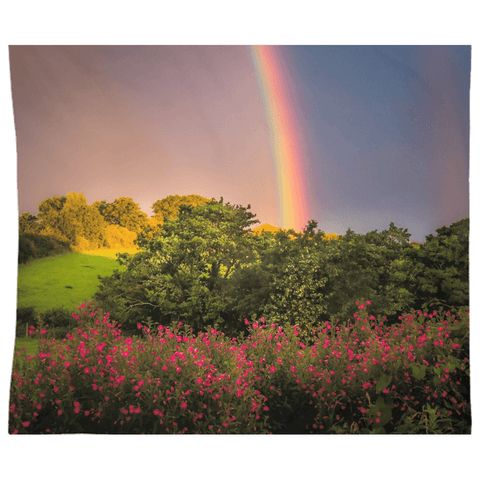 Tapestry - County Clare Rainbow and Wildflowers Tapestry Moods of Ireland 88x104 Inch Indoor Microfiber without Grommets