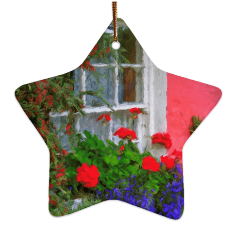 Porcelain Ornament - Bunratty Cottage Windowbox Ornament Moods of Ireland Star