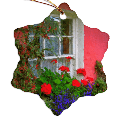 Porcelain Ornament - Bunratty Cottage Windowbox Ornament Moods of Ireland Snowflake