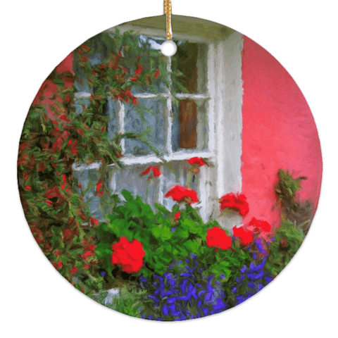 Image of Porcelain Ornament - Bunratty Cottage Windowbox Ornament Moods of Ireland Round
