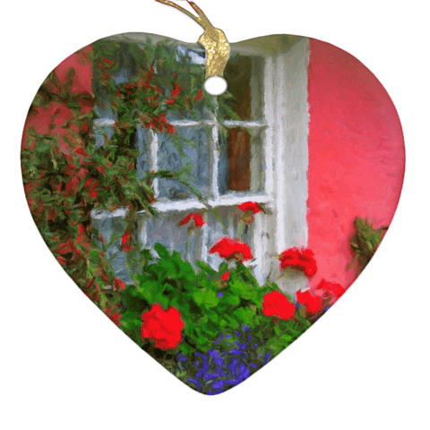 Image of Porcelain Ornament - Bunratty Cottage Windowbox Ornament Moods of Ireland Heart