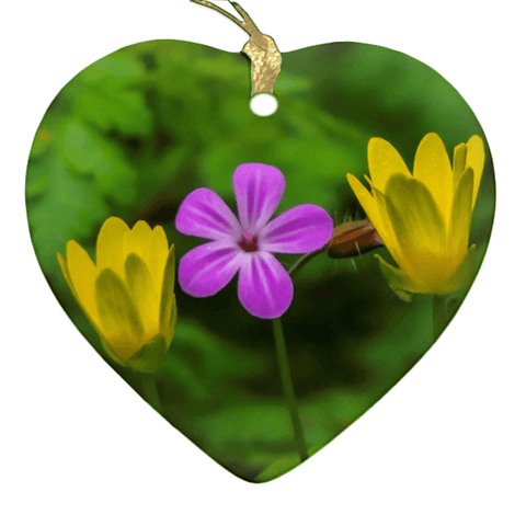Image of Porcelain Ornaments - Irish Wild Flowers Ornaments Moods of Ireland Heart