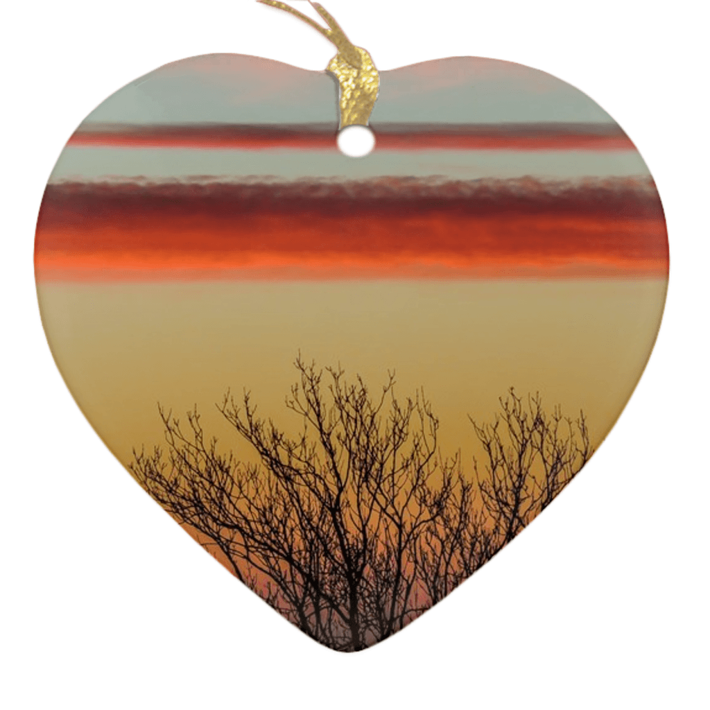 Porcelain Ornaments - Enchanted Irish Sunrise Ornaments Moods of Ireland Heart