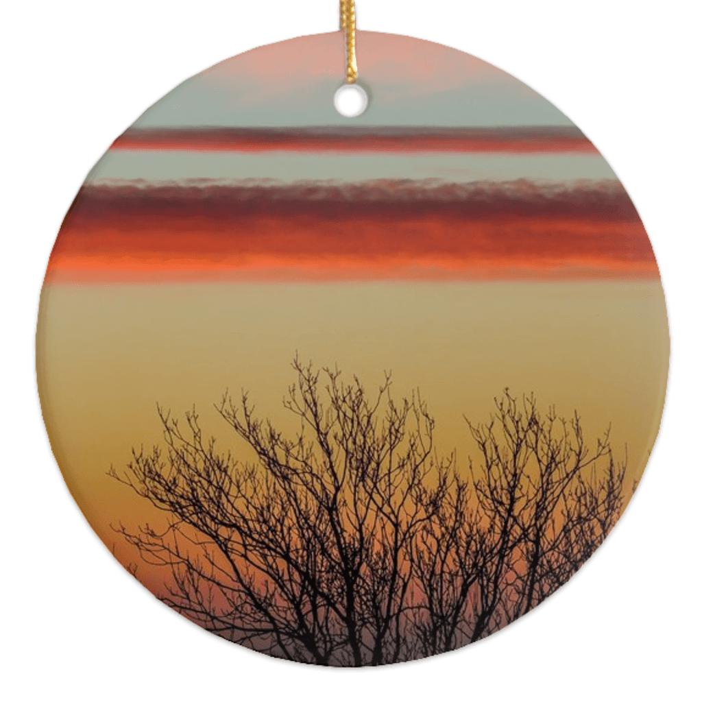 Porcelain Ornaments - Enchanted Irish Sunrise Ornaments Moods of Ireland Round