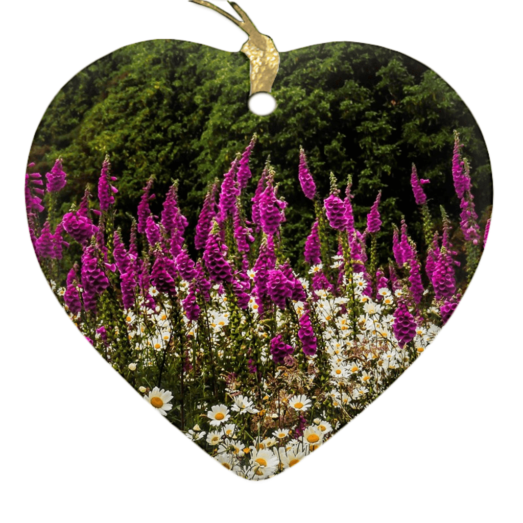 Porcelain Ornaments - Daisies & Foxglove in the Irish Countryside ornaments Moods of Ireland Heart