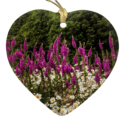 Image of Porcelain Ornaments - Daisies & Foxglove in the Irish Countryside ornaments Moods of Ireland Heart