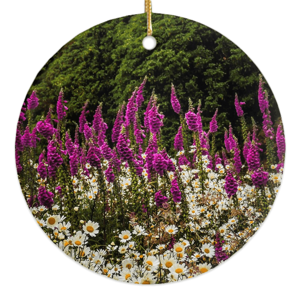 Porcelain Ornaments - Daisies & Foxglove in the Irish Countryside ornaments Moods of Ireland Round