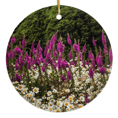 Image of Porcelain Ornaments - Daisies & Foxglove in the Irish Countryside ornaments Moods of Ireland Round