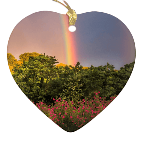 Image of Porcelain Ornaments - County Clare Rainbow & Wildflowers Ornaments Moods of Ireland Heart