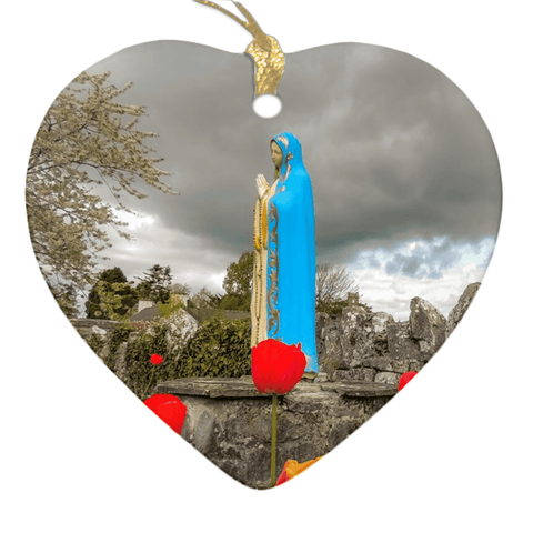 Image of Porcelain Ornaments - Tulips & Virgin Mary Ireland Ornaments Moods of Ireland Heart