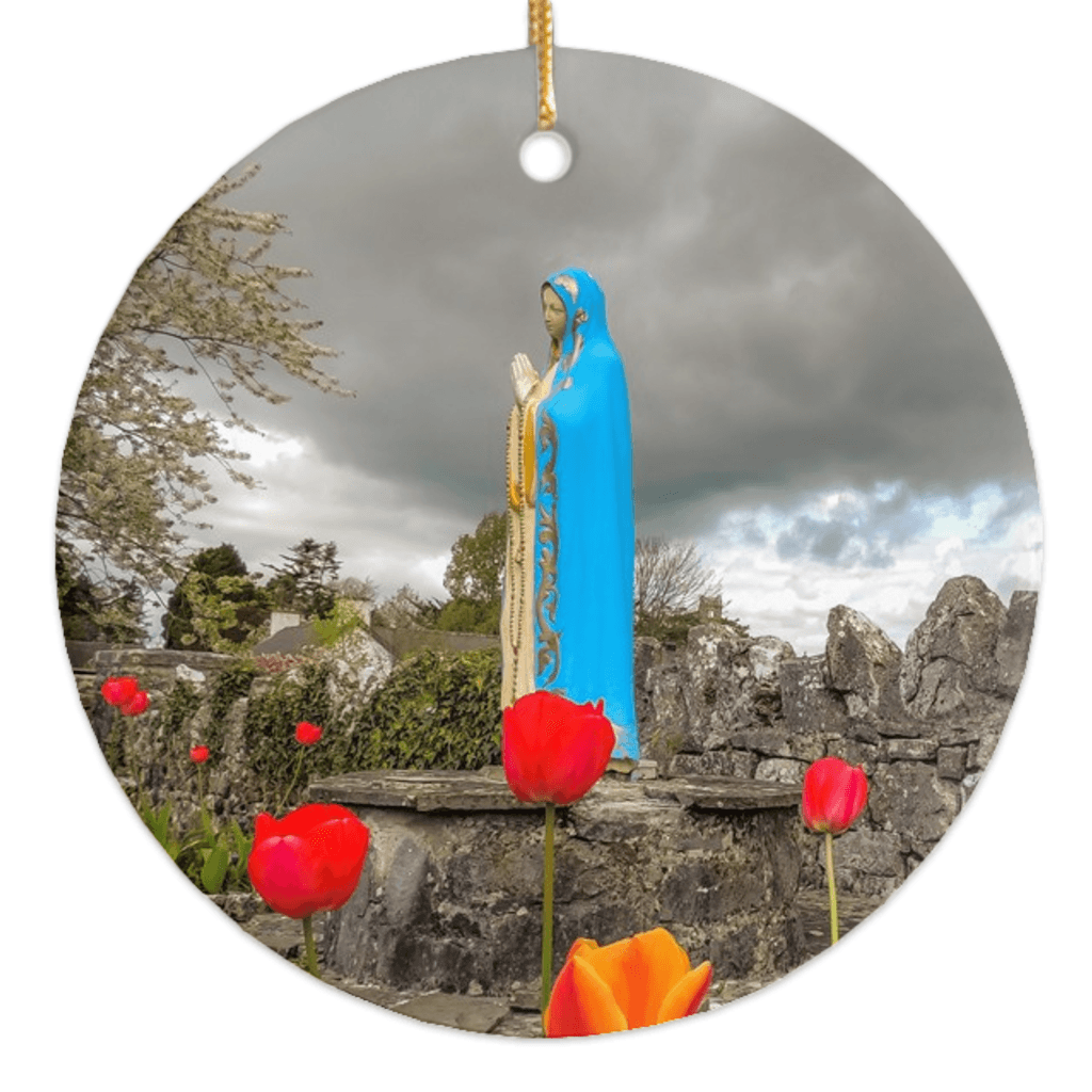 Porcelain Ornaments - Tulips & Virgin Mary Ireland Ornaments Moods of Ireland Round