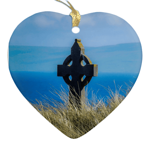 Porcelain Ornaments - Celtic Cross & Atlantic Ocean Ornaments Moods of Ireland Heart