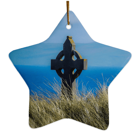 Image of Porcelain Ornaments - Celtic Cross & Atlantic Ocean Ornaments Moods of Ireland Star