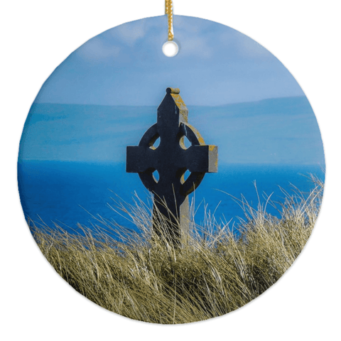 Image of Porcelain Ornaments - Celtic Cross & Atlantic Ocean Ornaments Moods of Ireland Round