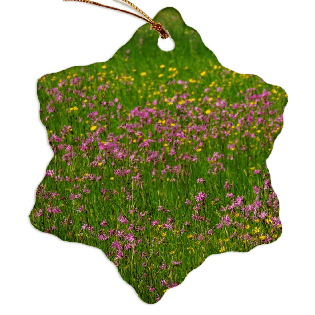 Porcelain Ornament - Wildflowers in an Irish Meadow Ornament Moods of Ireland Snowflake