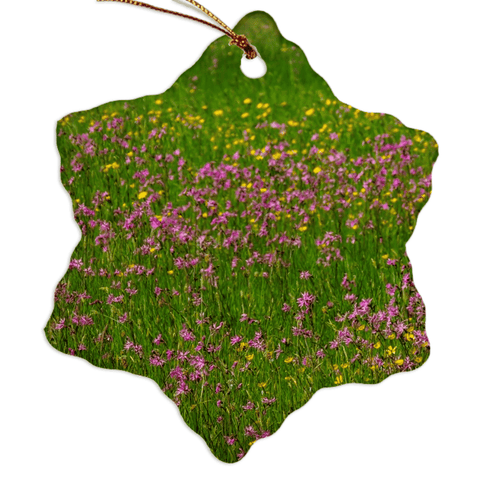 Image of Porcelain Ornament - Wildflowers in an Irish Meadow Ornament Moods of Ireland Snowflake