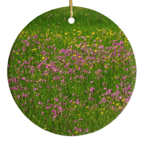 Image of Porcelain Ornament - Wildflowers in an Irish Meadow Ornament Moods of Ireland Round