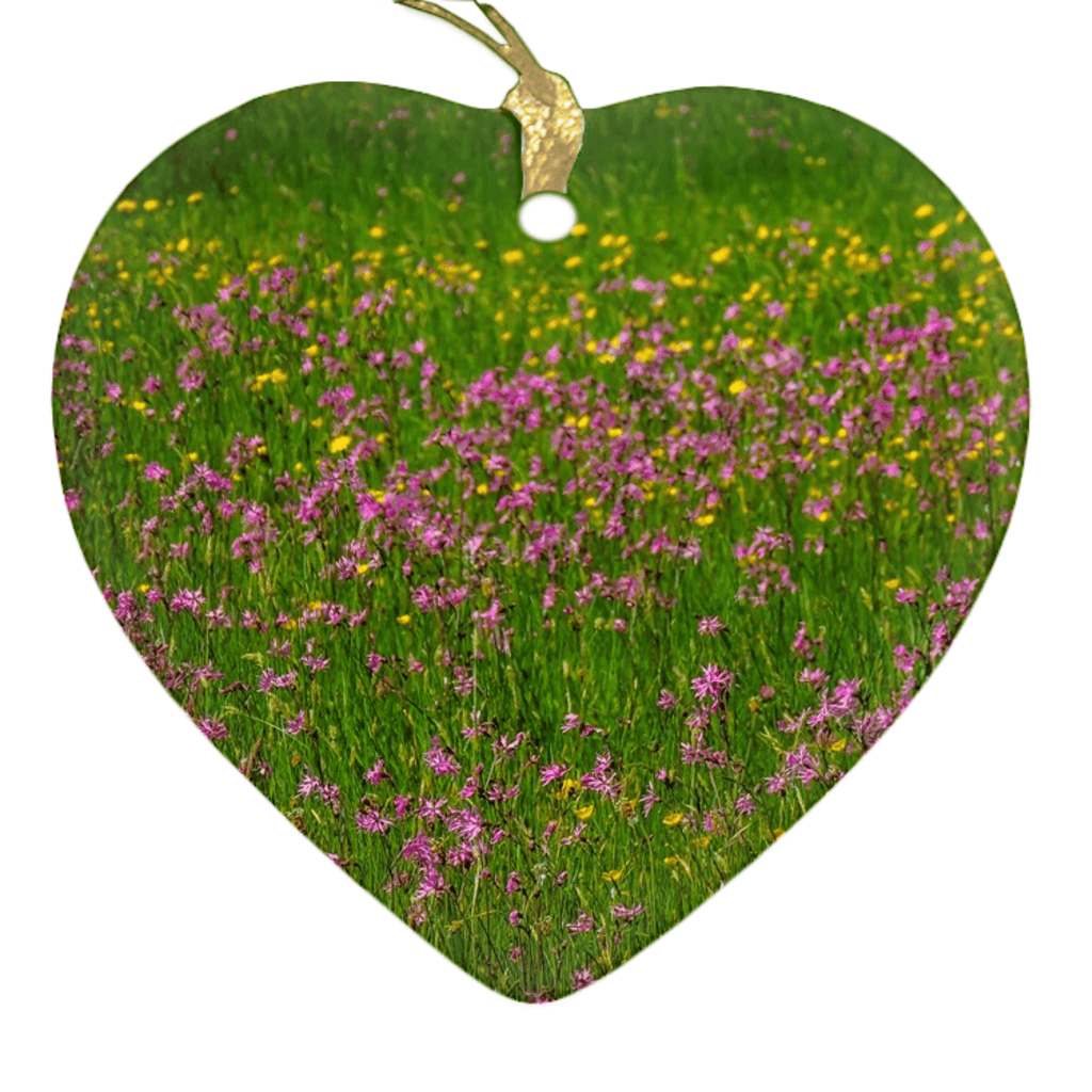 Porcelain Ornament - Wildflowers in an Irish Meadow Ornament Moods of Ireland Heart