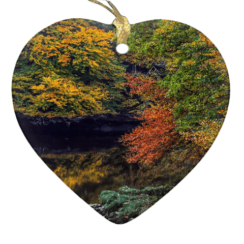 Image of Porcelain Ornament - Irish Autumn on Cloon River, County Clare Ornaments Moods of Ireland Heart