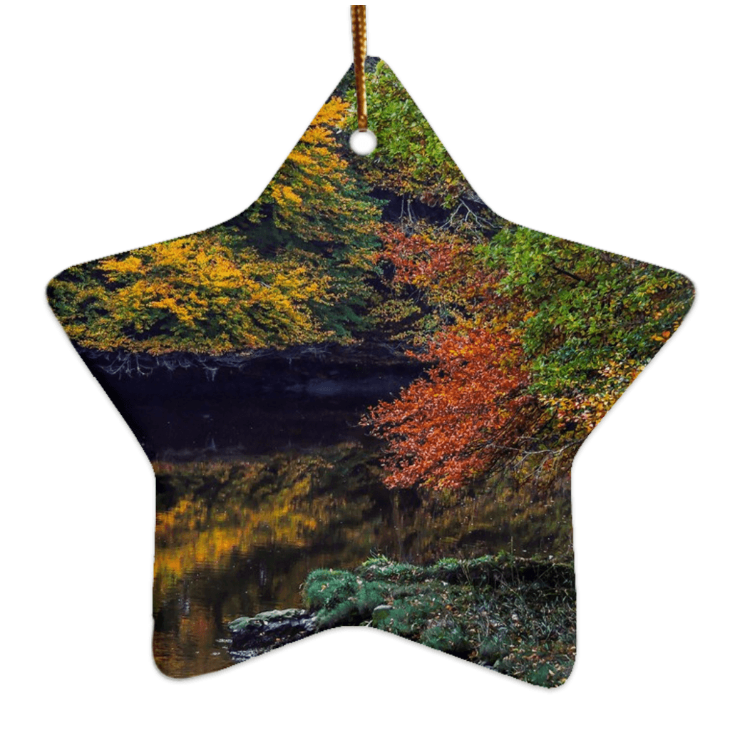 Porcelain Ornament - Irish Autumn on Cloon River, County Clare Ornaments Moods of Ireland Star