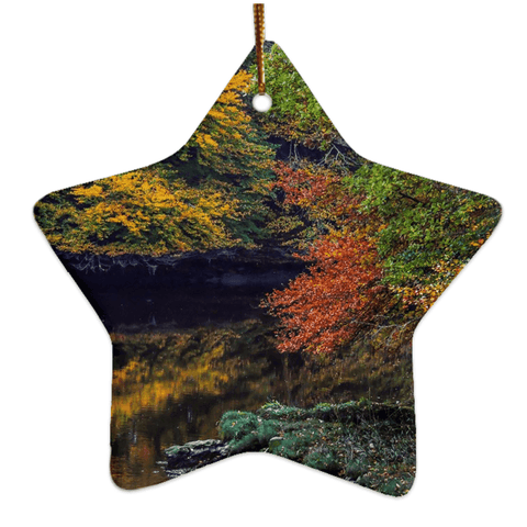 Image of Porcelain Ornament - Irish Autumn on Cloon River, County Clare Ornaments Moods of Ireland Star