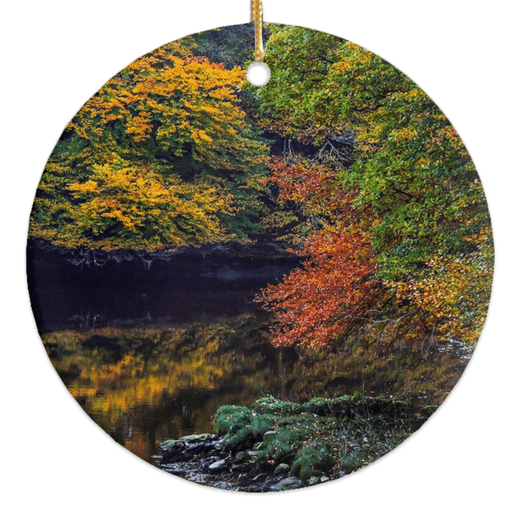 Porcelain Ornament - Irish Autumn on Cloon River, County Clare Ornaments Moods of Ireland Round