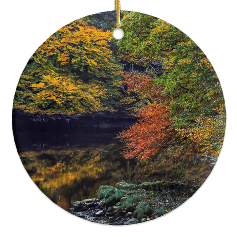 Image of Porcelain Ornament - Irish Autumn on Cloon River, County Clare Ornaments Moods of Ireland Round