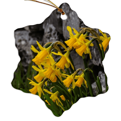 Porcelain Ornament - Irish Spring Daffodils ornaments Moods of Ireland Snowflake
