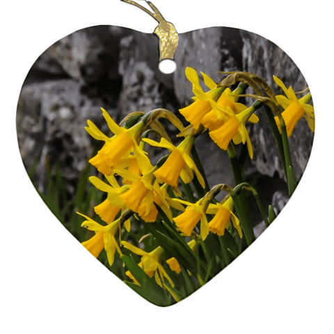 Image of Porcelain Ornament - Irish Spring Daffodils ornaments Moods of Ireland Heart