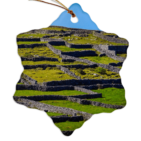 Image of Porcelain Ornament - Stone Walls of the Isle of Inisheer, Aran Islands, County Galway Ornament Moods of Ireland Snowflake