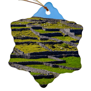 Porcelain Ornament - Stone Walls of the Isle of Inisheer, Aran Islands, County Galway Ornament Moods of Ireland Snowflake