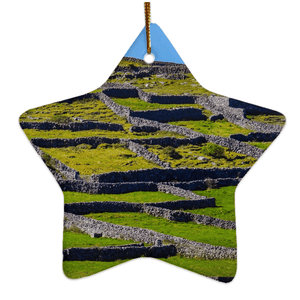 Porcelain Ornament - Stone Walls of the Isle of Inisheer, Aran Islands, County Galway Ornament Moods of Ireland Star